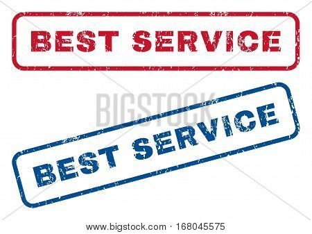 Best Service text rubber seal stamp watermarks. Vector style is blue and red ink caption inside rounded rectangular banner. Grunge design and scratched texture. Blue and red signs.