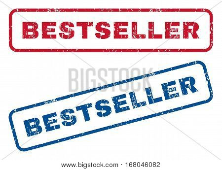 Bestseller text rubber seal stamp watermarks. Vector style is blue and red ink tag inside rounded rectangular banner. Grunge design and unclean texture. Blue and red emblems.
