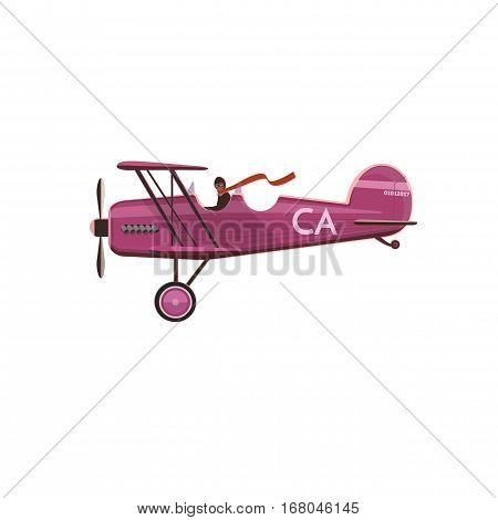 Biplane icon cartoon flat style isolated on white. Rasterized Copy