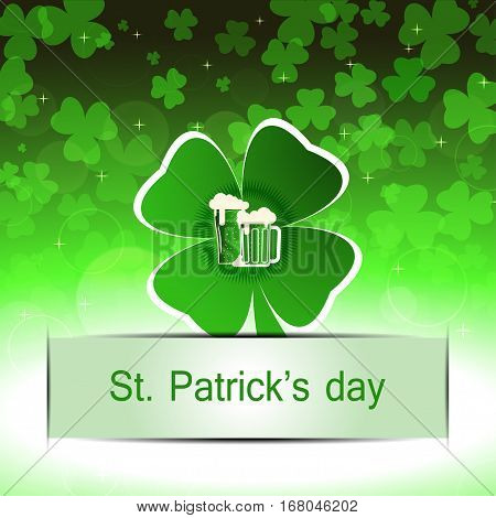 Vector Happy St. Patrick's Day poster on the gradient green background with cutout leaf of clover and paper stripe.
