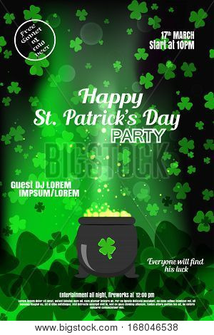 Vector Happy St. Patrick's Day night party poster on the gradient dark green background with leaves of clover and cauldron.