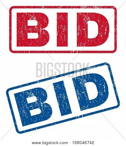 Bid text rubber seal stamp watermarks. Vector style is blue and red ink tag inside rounded rectangular banner. Grunge design and scratched texture. Blue and red emblems.