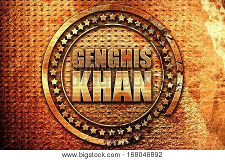 genghis khan, 3D rendering, grunge metal stamp