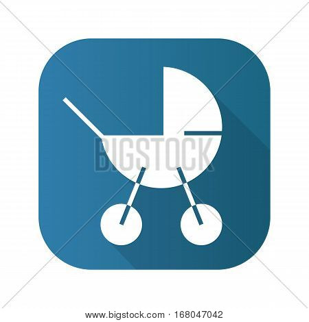 Baby carriage flat design long shadow icon. Vector silhouette symbol