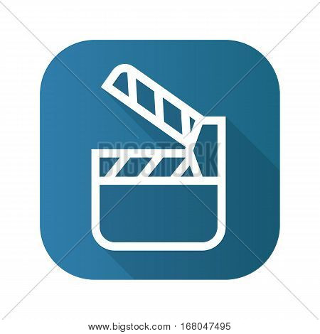Movie clapperboard flat linear long shadow icon. Vector line symbol