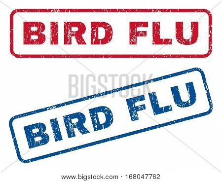 Bird Flu text rubber seal stamp watermarks. Vector style is blue and red ink caption inside rounded rectangular banner. Grunge design and scratched texture. Blue and red stickers.