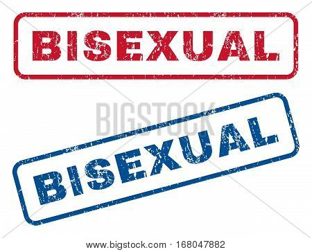 Bisexual text rubber seal stamp watermarks. Vector style is blue and red ink caption inside rounded rectangular banner. Grunge design and unclean texture. Blue and red stickers.