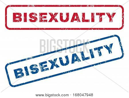 Bisexuality text rubber seal stamp watermarks. Vector style is blue and red ink caption inside rounded rectangular banner. Grunge design and scratched texture. Blue and red stickers.