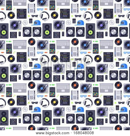 DJ music seamless pattern. Music concept background made with icons. Includes rock, club and audio elements. Melody record headphones vector wallpaper musical disco design.