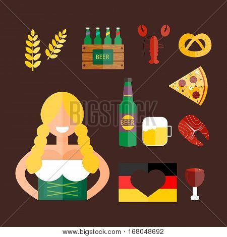 Oktoberfest girl serving beer vector illustration. Traditional costume bavaria party female. Woman culture celebration happy and fashion dress.
