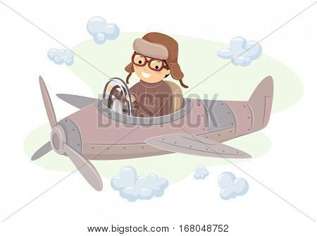 Stickman Illustration of a Guy in an Aviator Costume Driving a Vintage Airplane