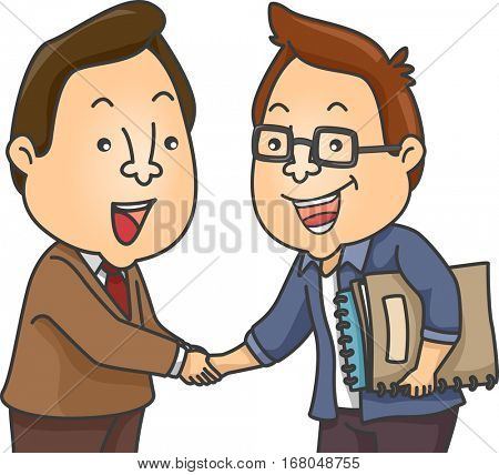Illustration of a Writer Carrying Bound Manuscripts Eagerly Shaking Hands with His Editor