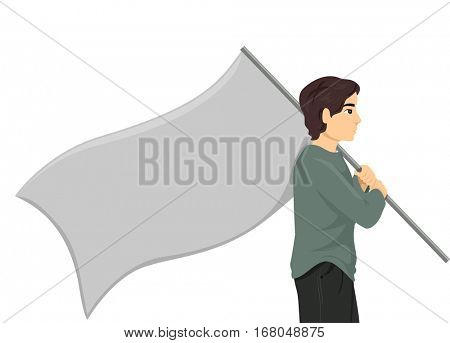 Conceptual Illustration of a Stateless Man Carrying a Large Blank Flag