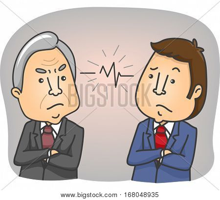 Illustration Demonstrating the Generation Gap Between a Young Employee and an Elderly Colleague Having an Argument