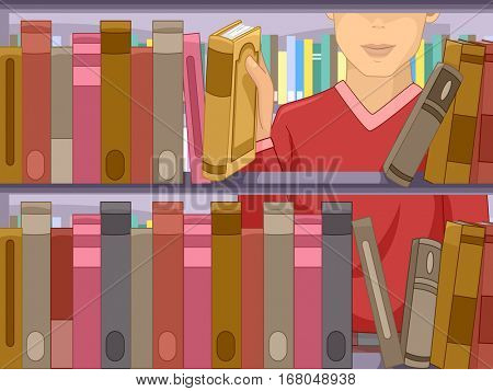 Illustration of a Man Standing in Front of a Bookshelf Choosing a Book