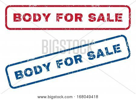 Body For Sale text rubber seal stamp watermarks. Vector style is blue and red ink caption inside rounded rectangular shape. Grunge design and scratched texture. Blue and red emblems.
