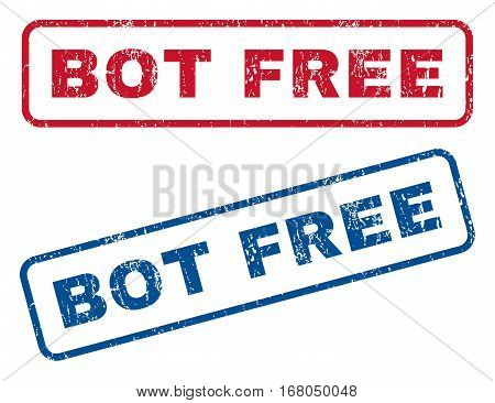 Bot Free text rubber seal stamp watermarks. Vector style is blue and red ink tag inside rounded rectangular banner. Grunge design and dirty texture. Blue and red signs.