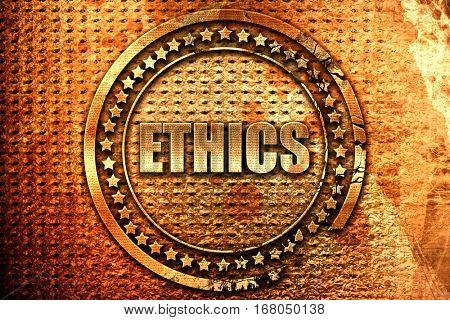 ethics, 3D rendering, grunge metal stamp