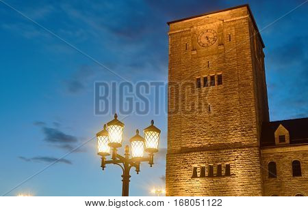 Imperial castle tower at night in Poznan