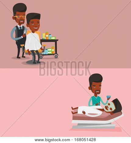 Two beauty banners with space for text. Vector flat design. Horizontal layout. Barber cutting hair of young man at barbershop. Professional barber making haircut to client with scissors in barbershop.