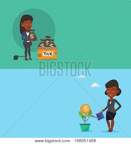 Two business banners with space for text. Vector flat design. Horizontal layout. Captive taxpayer standing near bags with taxes. Taxpayer holding bag with dollar sign. Concept of tax time and taxpayer