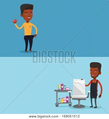 Two beauty banners with space for text. Vector flat design. Horizontal layout. Young man on a diet. Slim man in oversized pants showing the result of his diet. Concept of dieting and healthy lifestyle