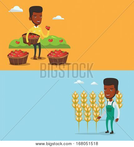 Two agricultural banners with space for text. Vector flat design. Horizontal layout. Happy caucasian farmer holding basket with tomatoes. Farmer showing ripe red tomato. Farmer collecting tomatos.