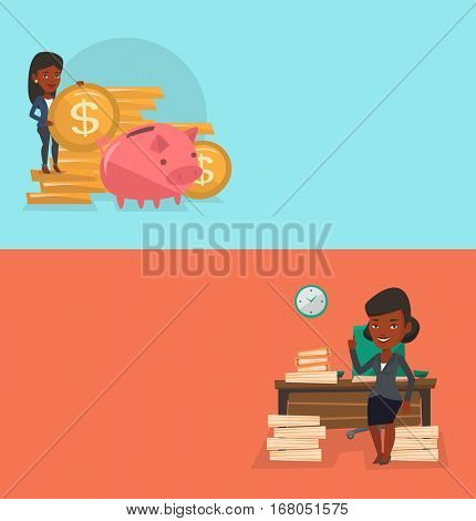 Two business banners with space for text. Vector flat design. Horizontal layout. Woman standing in office and pointing at time on clock. Business woman working against time. Time management concept.