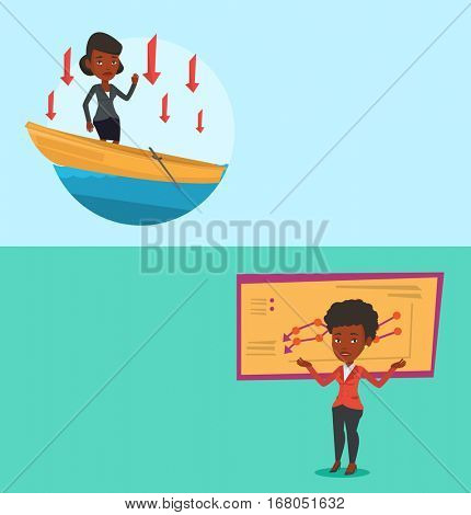 Two business banners with space for text. Vector flat design. Horizontal layout. Bancrupt standing on the background of decreasing chart. African bancrupt business woman standing with spread arms.