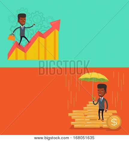 Two business banners with space for text. Vector flat design. Horizontal layout. Caucasian insurance agent. agent holding umbrella over coins. business protection concept