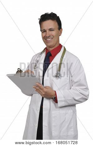 Man doctor holding a clipboard with a patient medical record chart