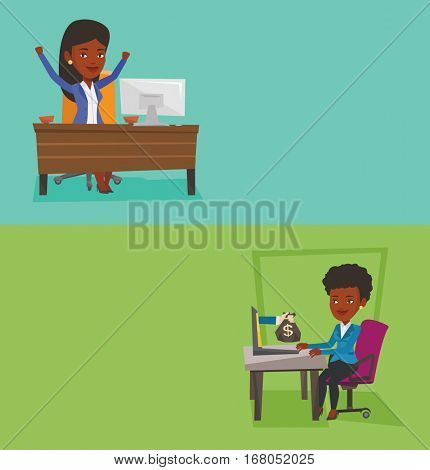Two business banners with space for text. Vector flat design. Horizontal layout. African-american successful businesswoman celebrating business success at workplace. Successful business concept.
