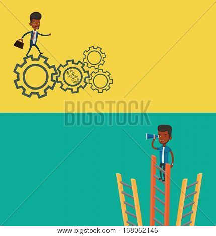 Two business banners with space for text. Vector flat design. Horizontal layout. African-american businessman running on cogwheels. Businessman running to success. Businessman running in a hurry.
