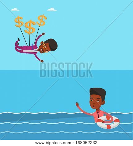 Two business banners with space for text. Vector flat design. Horizontal layout. Businessman flying with dollar signs. Businessman gliding in sky with dollars. Businessman using dollars as parachute.