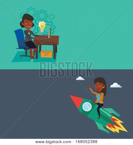 Two business banners with space for text. Vector flat design. Horizontal layout. Businesswoman working on laptop with idea bulb. Businesswoman having business idea. Successful business idea concept.