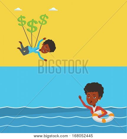 Two business banners with space for text. Vector flat design. Horizontal layout. Businesswoman sinking and asking for help. Businesswoman with lifebuoy sinking and waving. Failure in business concept.