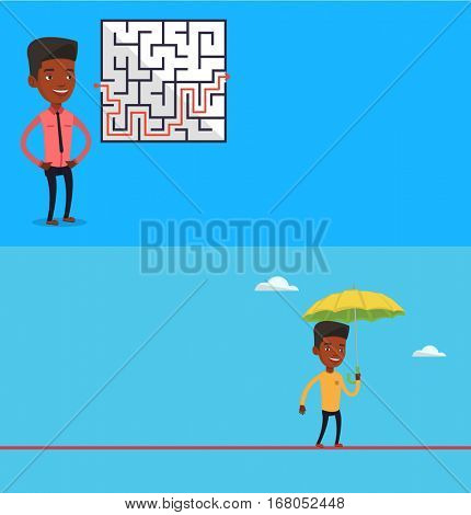Two business banners with space for text. Vector flat design. Horizontal layout. Risky businessman walking across a tightrope with umbrella. Businessman balancing on tightrope. Business risk concept