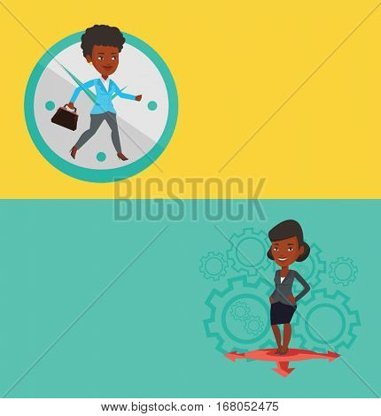 Two business banners with space for text. Vector flat design. Horizontal layout. Busy businesswoman running on the background with clock. Busy businesswoman in a hurry. Deadline and busy time concept.