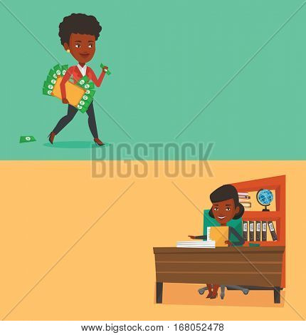 Two business banners with space for text. Vector flat design. Horizontal layout. Woman walking with briefcase full of money and committing economic crime. Woman stealing money. Economic crime concept.