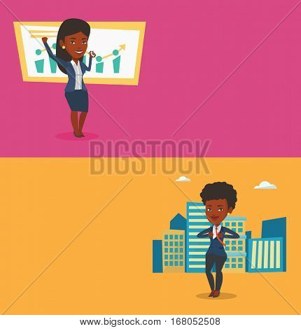 Two business banners with space for text. Vector flat design. Horizontal layout. Successful business woman getting good news on mobile phone. African successful business woman talking on mobile phone.