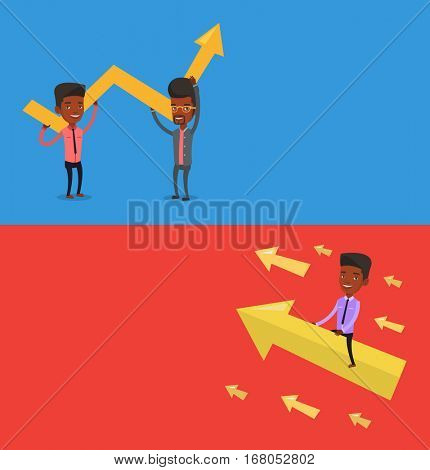 Two business banners with space for text. Vector flat design. Horizontal layout. Two businessmen holding growth graph. Cheerful business team with growth graph. Concept of business growth and teamwork