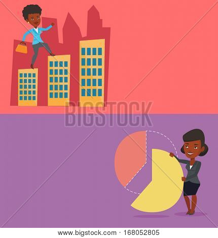 Two business banners with space for text. Vector flat design. Horizontal layout. Shareholder taking her share of financial pie chart. Shareholder getting share of profit. Business woman sharing profit