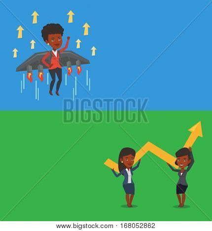 Two business banners with space for text. Vector flat design. Horizontal layout. Businesswoman flying on business start up rocket. Businesswoman flying with a jet backpack. Business start up concept.