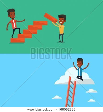 Two business banners with space for text. Vector flat design. Horizontal layout. Man runs up the stairs while another man builds this ladder. Man climbing the career ladder. Concept of business career