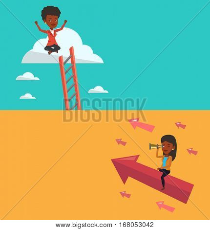 Two business banners with space for text. Vector flat design. Horizontal layout. African woman searching for business opportunities. Young business woman using spyglass for searching of opportunities.