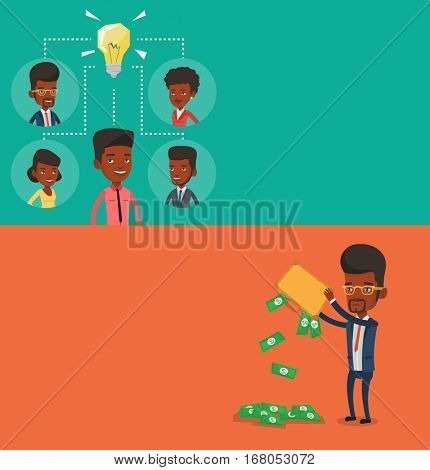 Two business banners with space for text. Vector flat design. Horizontal layout. Businessmen working on business idea. Businessmen discussing business idea. Businessmen connected by one idea bulb.