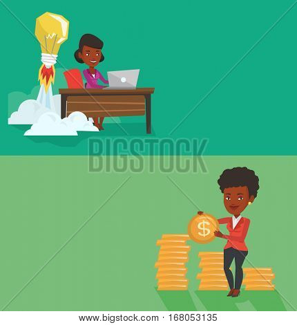 Two business banners with space for text. Vector flat design. Horizontal layout. Successful business woman with dollar gold coin in hands. Successful woman holding gold coin. Business success concept.