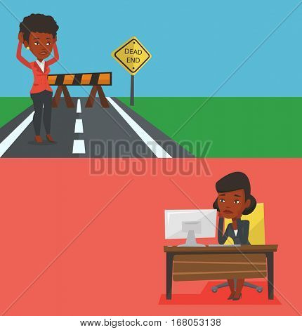 Two business banners with space for text. Vector flat design. Horizontal layout. Businesswoman looking at road sign dead end symbolizing business obstacle. Businesswoman facing with business obstacle.