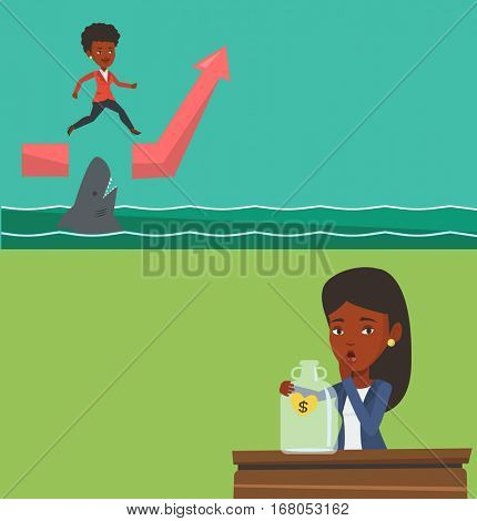 Two business banners with space for text. Vector flat design. Horizontal layout. Businesswoman jumping over sea with shark. Girl running on graph and jumping over gap. Business growth and risk concept