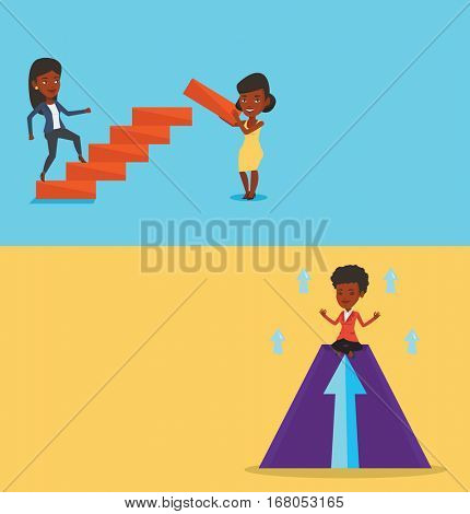 Two business banners with space for text. Vector flat design. Horizontal layout. African-american businesswoman doing yoga on mountain with arrow going up. Businesswoman meditating in yoga lotus pose.